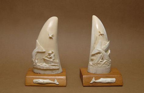 Dents de cachalots sculptées par Gérard Soury